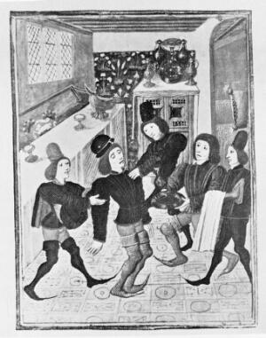 view Gaston de Foix dying from a coronary attack