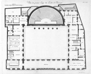 view M. Gondoin, Plan du Rez du premier etage des Ecole de Chirurgie, in Description des ecoles de chirurgie