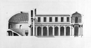 view M. Gondoin, Cross-section of theatre, in Description des ecoles de chirurgie