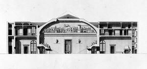 view M. Gondoin, students and wall mural, in Description des ecoles de chirurgie