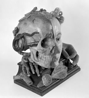 view 'Vanitas' head: female head in wax representing life & death