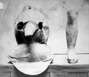 view Photograph: plague mask of oil-cloth with bronze beak