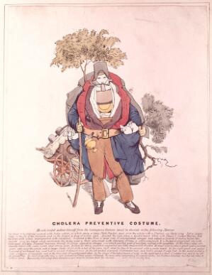 view A figure dressed in a cholera safety suit. Coloured etching.
