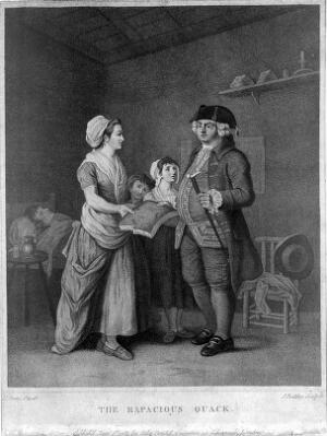 view A greedy medical practitioner demanding a section of bread or cake (?) for payment from a poor family. Stipple engraving by J. Baldrey, 1784, after E. Penny.