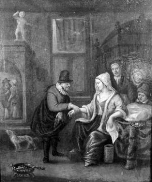 view A medical practitioner taking a woman's pulse. Oil painting by a follower of Jan Havickz. Steen.