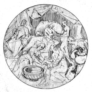 view A child receiving its first bath, the mother is in bed recovering and being given food. Pen drawing.