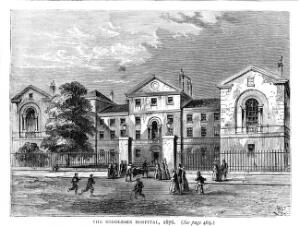 view Middlesex Hospital, 1876.