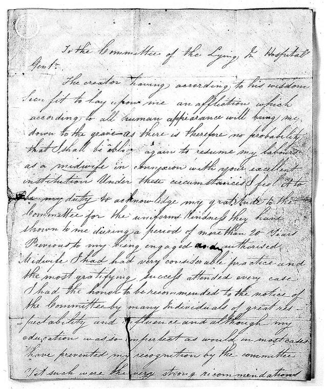 ponsonby sarah 1745 1831 catalogue search well e collection Pharmacy Tech Resume Template letter from sarah roddrey to the lying in hospital 1840