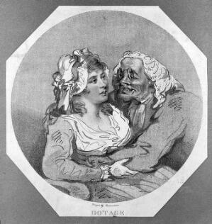 view An old man with his arms around a young woman. Stipple engraving after Thomas Rowlandson.