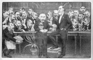 view Caricatured men of various sizes are sitting on chairs watching a very tall man. Lithograph by L. Fuchs.