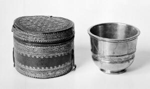 view Antimony Cup. XVIIth century with tooled leather case.