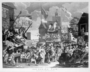 view Southwark Fair, a renowned place of amusement, with a variety of theatrical establishments. Engraving by T. Cook after W. Hogarth.