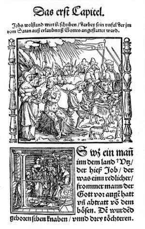 view Job covered with sores, woodcut 1531.