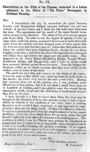 view Observations on the filth of the Thames, from a letter to The Times by Michael Faraday