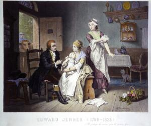 view Edward Jenner, vaccinating his young child, held by Mrs Jenner; a maid rolls up her sleeve, a man stands outside holding a cow. Coloured engraving by C. Manigaud after E Hamman.