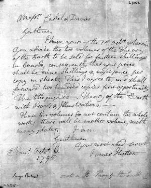 view Autograph letter by James Hutton to Caddel and Davies.