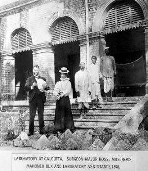 view Sir R. Ross on steps of laboratory in Calcutta, 1898