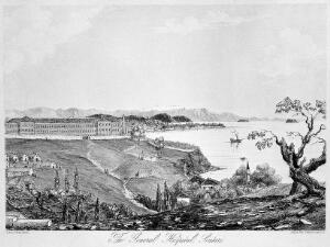 view Crimean War, Turkey: panoramic view showing the general hospital and mosque in Scutari. Lithograph by Lady A. Blackwood.