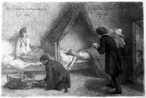 view Patients suffering from cholera in the Jura during the 1854 epidemic, with Dr Gachet attending them.