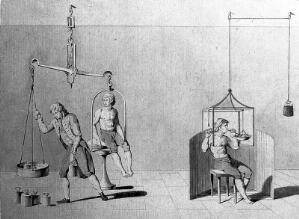 view A man being weighed on a huge set of scales, and a man with his head in a glass container; showing Lavoisier's experiments with respiration. Brown pen and wash drawing.