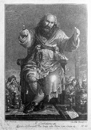 view An itinerant medicine vendor performing with props to a crowd in Siena. Engraving by G.B. Polanzani after S. Pacini after G. Mei.
