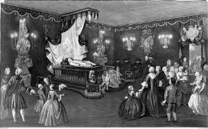 view The lying in state of Willem IV, Prince of Orange-Nassau, surrounded by his grieving family and servants. Line engraving with etching by J. Punt after P. De Swart, 1752.