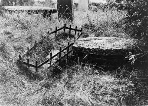 view Mortsafes at Kinnernie graveyard, Aberdeenshire.