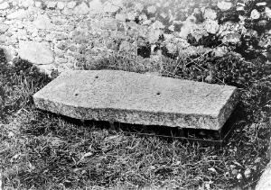 view Mortsafe in Skene churchyard, Aberdeenshire.