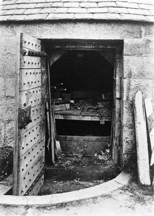 view Door open on Vault in graveyard at Udny, Aberdeenshire.