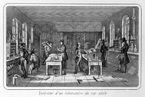view Interior of chemical laboratory in the 19th century