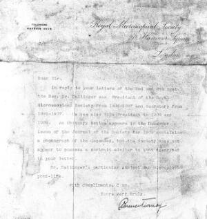 view Letter on verso of portrait of W. H. Dallinger