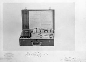 view Medicine chest used in the Netherlands Army, 1887, for treating cases of asphyxia.