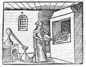 view Woodcut of alchemist trying to transmute metals, circa 1503.