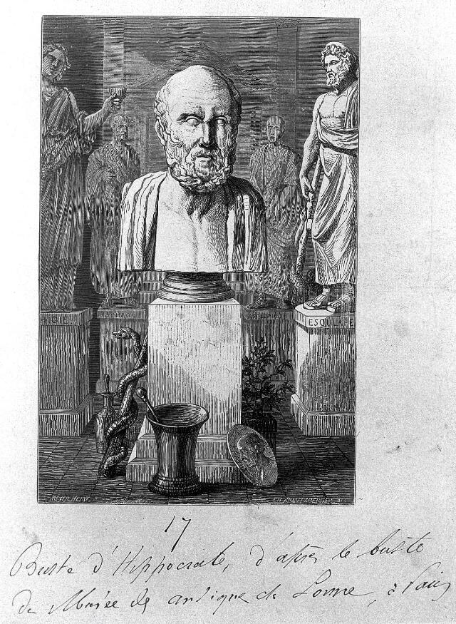 Wood engraving: bust of Hippocrates, with