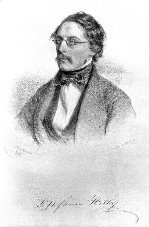 view J. Florian Heller. Lithograph by J. Kriehuber, 1856.