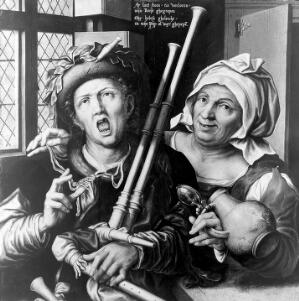 view A bagpiper and a woman taking his purse, by Pieter Huys, 1571.