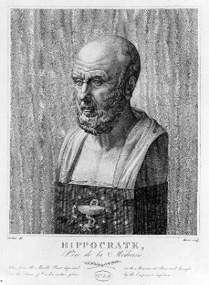 view Engraving: marble bust of Hippocrates; by