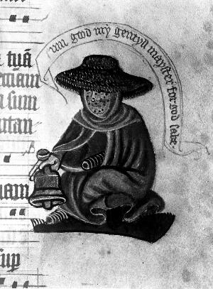 view Manuscript showing leper
