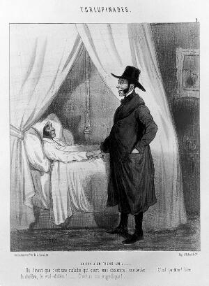 view A doctor is delighted at confronting a full-blown case of cholera. Coloured lithograph by Cham, c. 1845.