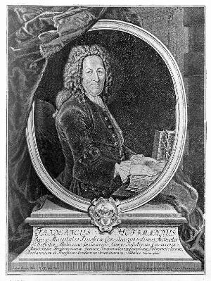 view Friedrich Hoffmann II. Reproduction of line engraving by F. G. Wolffgang, 1735, after A. Pesne.
