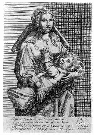 view A woman breast-feeding her child. Line engraving by MD after J.Ch., n.d. [16--].
