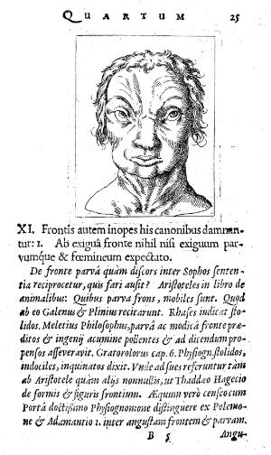"view Face and text, ""Metoposcopia"", S. Fuchs, 1615"