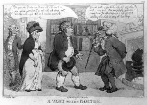 view 'A visit to the doctor', Thomas Rowlandson after Woodward