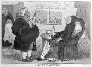view An obese physician pleased with the progress of his emaciated terminally ill patient. Coloured etching by T. Rowlandson, 1813?, after R. Newton.