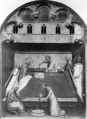view Painting of the birth of the Virgin.