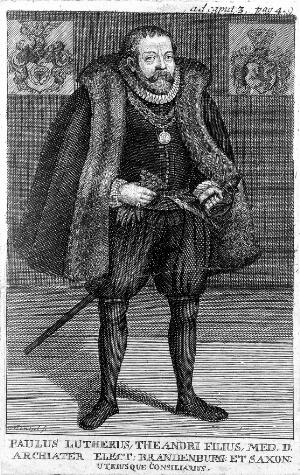 view Paul Luther. Line engraving by Mentzel.