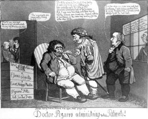 view James Gillray, 'Dr. Pizarro administering to his patients'