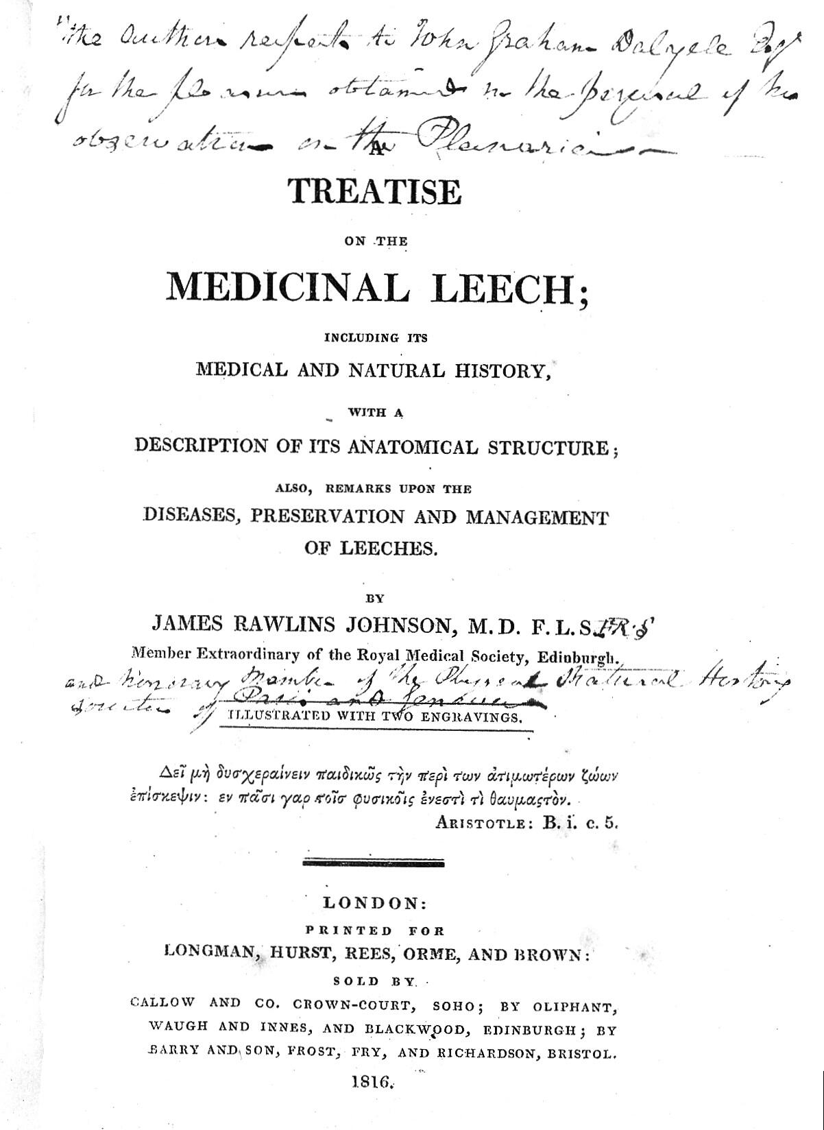 Treatise on the medicinal leech  | Wellcome Collection