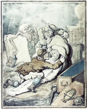 view Two men placing the shrouded corpse which they have just disinterred into a sack while Death, as a nightwatchman holding a lantern, grabs one of the grave-robbers from behind. Coloured drawing by T. Rowlandson, 1775.