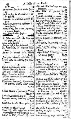 view Index Herb Bennet- Mercury, 17th century